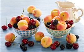 Peaches, cherries, blackberries