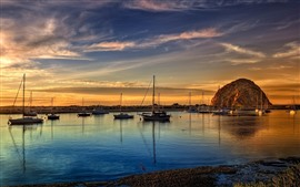 Sea, coast, boats, rocks