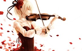 Preview wallpaper Short hair blonde girl, play violin, rose petals, anime