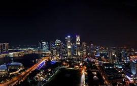 Preview wallpaper Singapore, cityscape, skyscrapers, lights, night