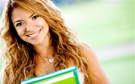 Preview wallpaper Smile young girl, books, student