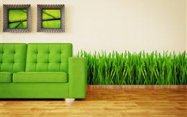 Диван, трава, зеленый, креативный дизайн