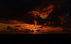 Закат, небо, облака, ночь