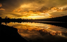 Sunset, sky, clouds, tree, lake, water reflection