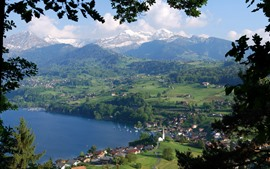 Preview wallpaper Switzerland, Bern, town, village, mountains, alps, lake