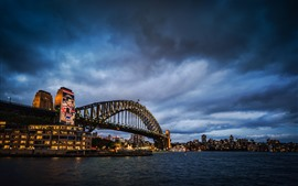 Preview wallpaper Sydney, bridge, sea, lights, night, city, Australia