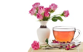 Tea, pink roses, cup, vase, white background