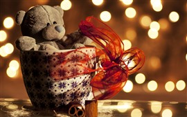 Preview wallpaper Teddy bear, cup, gift