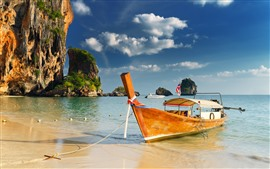 Tailandia, barco, mar, tropical, playa