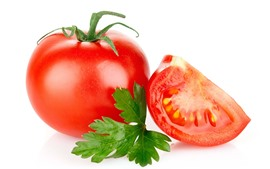Preview wallpaper Tomatoes, white background, green leaf