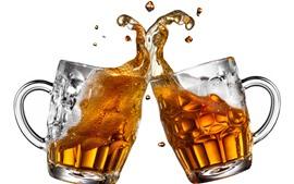 맥주, 건배, 스플래시, 흰색 배경 두 잔