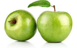 Dos manzanas verdes, fondo blanco