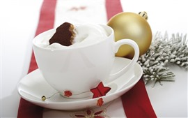 White cup, cream, stars, Christmas ball