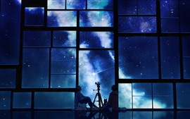 Window, starry, night, anime, girl and boy