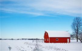 Winter, snow, barn, house, tree, blue sky