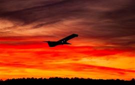 Airplane, sky, sunset, silhouette