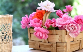 Preview wallpaper Basket, pink roses, hazy