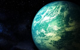Preview wallpaper Beautiful blue earth, planet, space, stars
