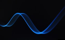 Preview wallpaper Blue curve, black background, abstract