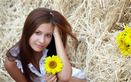 Preview wallpaper Brown hair girl and sunflowers