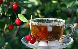 Cherries, tea, cup