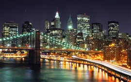 City night, New York, river, bridge, skyscrapers, lights, USA