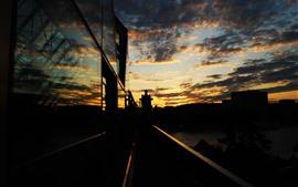 Cidade, pôr do sol, noite, rio, ponte