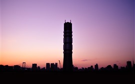 Preview wallpaper City, tower, sunset, dusk