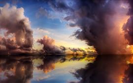 Água clara, lago, reflexão, nuvens, crepúsculo