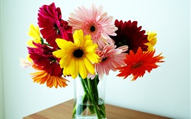 Разноцветные цветы герберы, ваза, стол