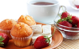 Preview wallpaper Cupcakes, strawberries, candy, coffee