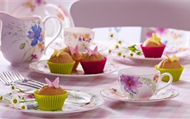 Preview wallpaper Cupcakes, tea, cups