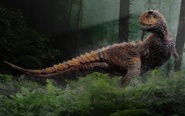 Preview wallpaper Dinosaur, trees, forest, creative picture