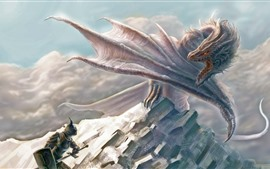 Preview wallpaper Dragon, wings, warrior, art picture