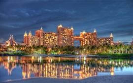 Dubai, hotel, noite, luzes, rio, árvores