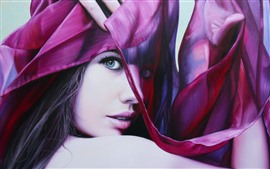 Preview wallpaper Fashion girl, face, eyes, look, silk scarf