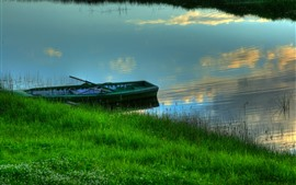 Grass, river, boat, summer