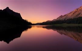 Lago, montañas, árboles, puesta de sol, reflejo de agua