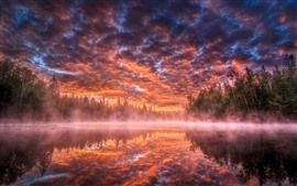 Lake, trees, fog, sunset, red sky, clouds