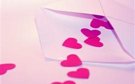 Carta, corações de amor