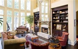 Sala de estar, lareira, sofá, piano