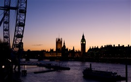 Preview wallpaper London, river, bridge, boats, Big Ben