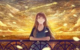 Chica anime de pelo largo, cielo, nubes, otoño dorado