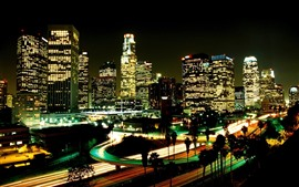 Preview wallpaper Los Angeles, night, city, skyscrapers, lights, USA