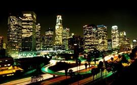 Los Angeles, noite, cidade, arranha-céus, luzes, EUA
