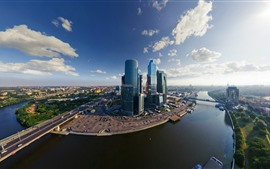 Preview wallpaper Moscow, buildings, city, river, bridge, skyscrapers, Russia