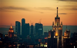 Preview wallpaper Moscow, buildings, night, city, Russia