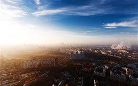 Preview wallpaper Moscow, city, top view, factory, smoke, buildings, morning, sunshine