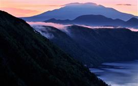 Mountains, fog, sea, morning