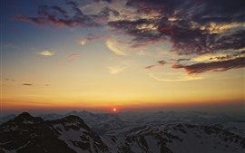Mountains, peaks, snow, clouds, sunset